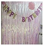 Blukey 2 Packs Foil Fringe-Backdrop-Iridescent White-3FTX8FT Metallic Door Window Curtain Party/Birthday/Wedding/Event Decoration