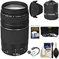 Canon EF 75-300mm f/4-5.6 III Zoom Lens with 3 UV/CPL/ND8 Filters + Pouch + Hood + Kit for EOS 5D Mark II III, 6D, 7D, 70D, Rebel T3, T3i, T5, T5i, SL1 Cameras