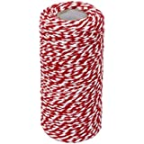 OxoxO 100YD White + Red Wrap Gift Cotton Rope Ribbon Bakers Twine Rope for Christmas Gift Bottle Gift Box Line Design 2mm