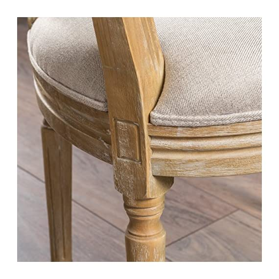 Christopher Knight Home 300258 Phinnaeus Fabric Dining Chairs, 2-Pcs Set, Beige - This traditional dining chair is perfect for any dining room. Featuring distressed wood with soft edges along the chair, it is sure to Complement any Classic Décor. The extra plus seating also provides maximum comfort while dining, giving your dinner parties an instant win. Includes: two (2) dining chairs Material: fabric (100% polyester), rubberwood   color: Beige, natural Finish - kitchen-dining-room-furniture, kitchen-dining-room, kitchen-dining-room-chairs - 51OwCrjYRdL. SS570  -