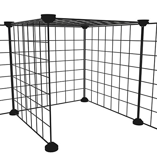 LANGXUN 16pcs Metal Wire Storage Cubes Organizer, DIY Small Animal Cage Rabbit, Guinea Pigs, Puppy | Pet Products Portable Metal Wire Yard Fence (Black, 16 Panels) by LANGXUN (Image #3)