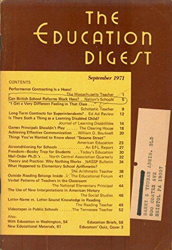 The Education Digest: September 1971, Volume XXXVII, Number 1