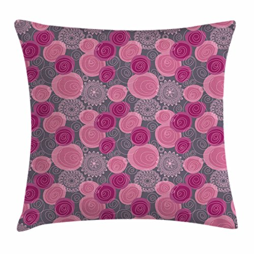 Ambesonne Pink Grey Throw Pillow Cushion Cover, Doodle Style Lace Swirled Circle Flower Pattern Ornamental Flourish, Decorative Square Accent Pillow Case, 16 X 16 Inches, Fuchsia Magenta Grey