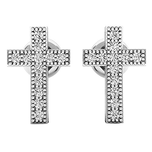 012-Carat-ctw-10K-Gold-Round-White-Diamond-Ladies-Cross-Stud-Earrings