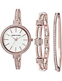 Women's AK/2846RGST Swarovski Crystal Accented Rose Gold-Tone Watch and Bangle Set