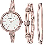 Anne Klein Women's AK/2846RGST Swarovski Crystal Accented Rose Gold-Tone Watch and Bangle Set