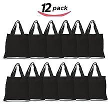 BULK 12 PACK (1 Dozen) Wholesale 100% Cotton Tote Bags, Plain Reusable Art and Craft Pary Pack Tote Bags, Kitchen Storage Organization Tote Bags (BLACK)