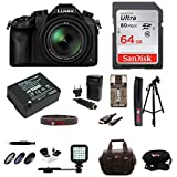 Panasonic LUMIX DMC-FZ1000 Digital Camera w/ 59 Photo & Video Tripod & 64 GB SD Card Bundle