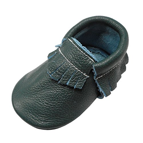 YIHAKIDS Baby Tassel Shoes Soft Leather Sole Infant Toddler Moccasins First Walkers Shoes Multi-Colors (US 3M (4.1in/Newborn), Dark Green) -