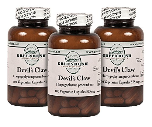 (3 Bottle Pack Devil's Claw Root 100 Pure Natural Vegetarian Capsules per Bottle 575mg. for Joint Pain, Muscle Pain, as a Fever Reducer, Digestive Tonic, and Blood Purifier. No Additives. )