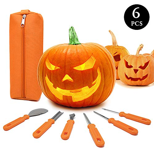 Halloween Decorations For Pumpkins (Halloween Pumpkin Carving Kit,6 Pieces Heavy Duty Stainless Steel Carving Tools Set with Storage Carrying Bag for Halloween Decorations,Jack-O-Lanterns Pumpkin Cutting Tools Carving Knife for)