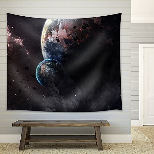 Universe Scene with Planets Stars and Galaxies in Outer Space Showing The Beauty of Space Exploration Fabric Wall