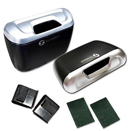 Zone Tech Universal Traveling Portable Mini Car Trash Can - 2-Pack Black Premium Quality Vehicle Trash Bin