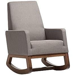 Baxton Studio Yashiya Mid Century Retro Modern Fabric Upholstered Rocking Chair