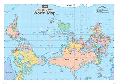 World Map Upside Down Amazon.com: Upside Down World Wall Map   33.25