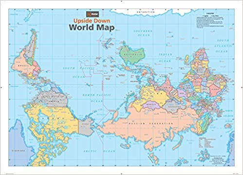 Australia Map Upside.Upside Down World Wall Map 34 5 X 24 75 Paper Hema Maps