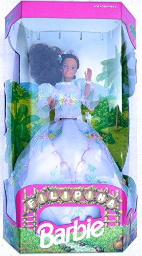 Filipina Barbie in White Organza Dress with Embroidered Pastel Flowers and Beading (1993) - - Dolls Filipino Barbie