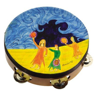 Yair Emanuel Leather Tambourine - Miriam Dancing Design (TM-4)