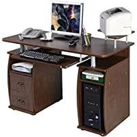 Officelax Computer Desk Executive Office Desk PC Laptop Table Workstation, Home Furnishings Desk Writing Desk with Keyboard Tray, Printer Shelf and Drawers (Walnut)