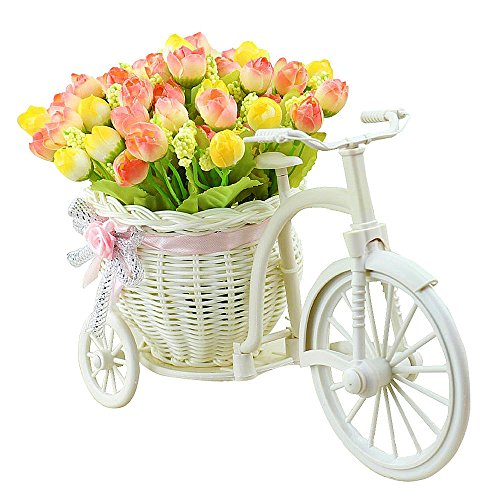 rtificial Flowers Flora Silk Rose Hand-woven Flower Baskets Bike Stand for Home Office Decoration(Yellow pink) (Eucalyptus Lavender Bouquet)