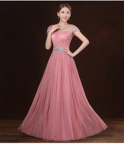 Bridal Gowns Empire Women's Prom Dress Evening Pink Sequins Drasawee Short Sleeve Maxi v01wSXqgSx