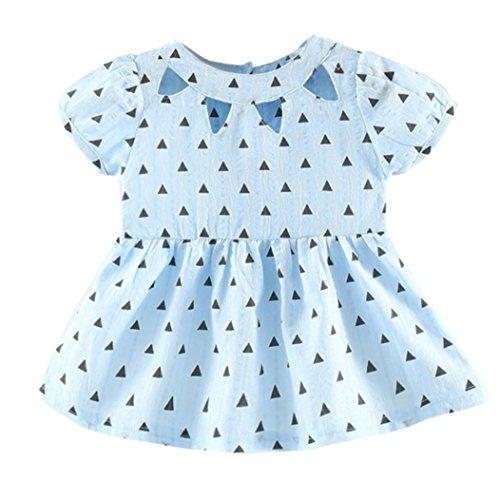 Anxinke Baby Girls Polka Dot Short Sleeve O Neck Pleated Princess Dress (Age: 6Months, Blue)