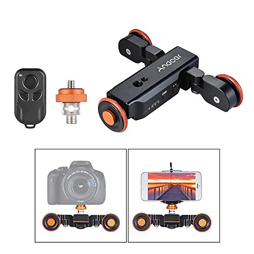 Track Dolly, Andoer Video Dolly Electric Track Slider with Wireless Remote Control 3 Speed Adjustable Chargable Mini Slider Skater for Canon Nikon Sony DSLR Camera IOS Android Smar (Black) (Tripods Sliders)