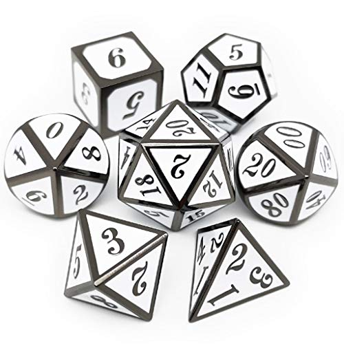 Haxtec 7 Die DND Metal Dice Set D&D 7PCS DND Dice of D20 D12 D10 D8 D6 D4 for Dungeons and Dragons RPG Games-Glossy Enamel Dice (Black White) Black & White Dice