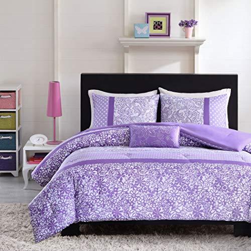 - 4pc Girls Purple Flower Themed Comforter Full Queen Set, Polka Dots Striped Pattern, Paisley Daisy Flowers, Pretty Floral Bedding, Violet Plum Lavender White, Horizontal Stripes