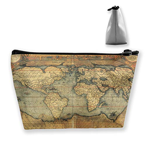 16Th Century Map Of The World History Pen Stationery Pencil Case Cosmetic Makeup Bag Pouch