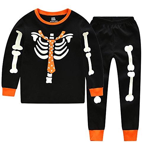 CNBABY Toddler Boys Glow In The Night Kids Skeleton Halloween Pajamas Pumpkin Ghost Sleepwears PJS