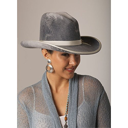 Women's Western Handcrafted Exquisite Grey Shaded Wool Gus Crown Cowboy Hat