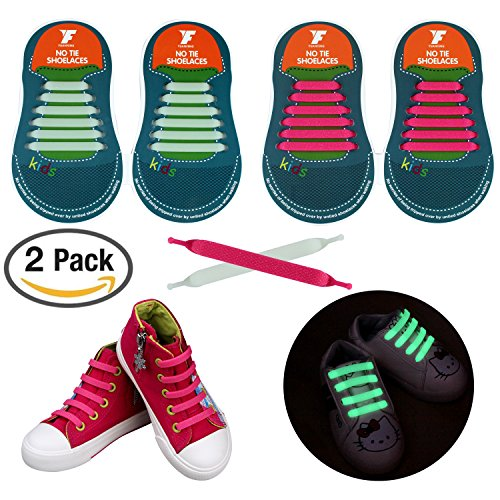 No Tie Shoelaces for Kids and Adults, YUANFENG Tieless Elastic Silicone Waterproof Flat Athletic Running Shoe Laces (Kids Size-Glitter Pink+Luminous Green)