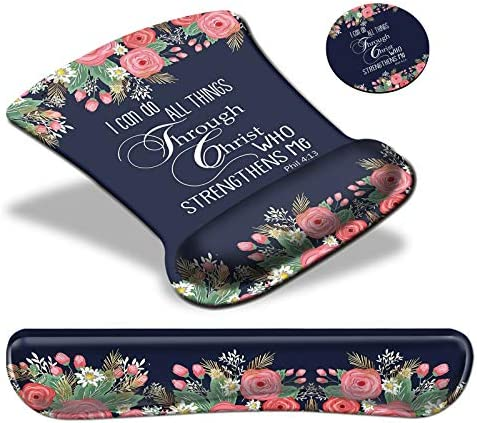 Keyboard Wrist Rest Pad & Mouse pad with Wrist Rest Support Set,Ergonomic Gaming Mouse Pad Coaster Keyboard Wrist Support with Memory Foam for Easy Typing Pain Relief - FlowerPhilippian 4~13