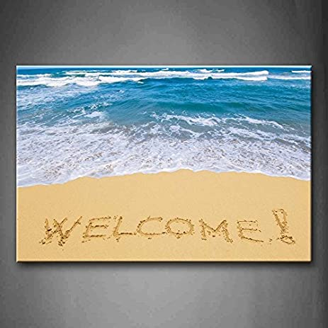 Amazon.com: EZON-CH Modern Art Word Of Welcome On The Beach Wall Art ...