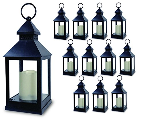 """Decorative Lanterns - Set of 12 - 5 Hour Timer - 11""""H Black Lanterns with Flameless Candles Included - Indoor/Outdoor Lantern Set"""