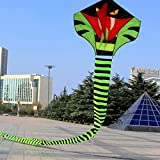 Flying Kite Cyan Cobra Snake 15m Outdoor Fun Sports Kites Easy To Fly Adults Children's Toys