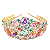 Stuffwholesale Golden Tiara Headband Colorful Rhinestone Crown for Wedding Prom Decor