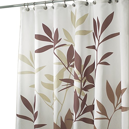 mDesign Leaves Fabric Shower Curtain - 72
