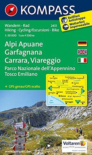 Alpi Apuane - Garfagnana - Carrara - Viareggio - Parco Nazionale dell'Appennino Tosco Emiliano: Wanderkarte mit Radtouren. GPS-genau. 1:50000 (KOMPASS-Wanderkarten, Band 2451)
