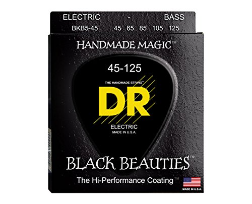 DR Strings BKB5-45 5-String Medium Black Beauties K3 Coated Electric Bass Guitar Strings (Blackjack New Schecter)