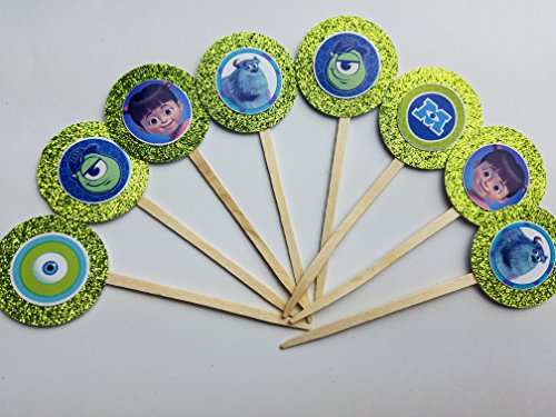 8 Monsters Inc Cupcake Toppers Sully Mike Boo Baby Shower Decor Cake Birthday