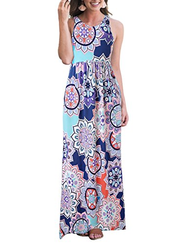 Printed 3 Sleeve Dress Maxi Casual Multi2 Women's 4 Floral Neck for Scoop Dress Tunic Women Dress Elastic Waist tv7Hwq