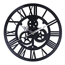 European Style Gear Wall Clock, Modern Home Decor Clock Large Round Metal Color Wall Vintage Steampunk Skeleton by Newpurslane (Black)