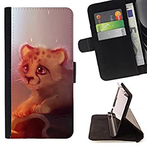 DEVIL CASE - FOR HTC One M7 - Cute cheetah Cute Cheetah Cub - Style PU Leather Case Wallet Flip Stand Flap Closure Cover
