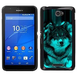 Caucho caso de Shell duro de la cubierta de accesorios de protección BY RAYDREAMMM - Sony Xperia E4 - Lindo Perro Lobo Invierno Nieve