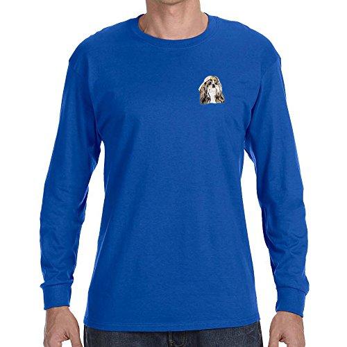 (Cherrybrook Dog Breed Embroidered Long Sleeve Mens T-Shirts - Small - Royal Blue - Shih Tzu)