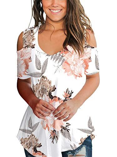 (Womens Floral Summer Tops V Neck Juniors T Shirt Peony Pattern Elegant White M)