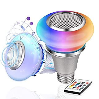 Speaker Light Bulb Bluetooth with Remote Control TACAHE Dimmable LED Music Bulbs Color Changing RGBW Lightbulbs 2700K Warm White 300LM 8W Equivalent with 30W Brightness E26 Base 2Pack