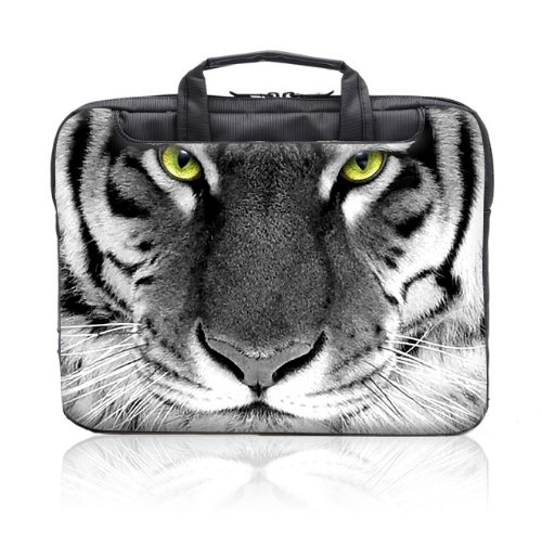 TaylorHe 15.6 inch 15 inch 16 inch Hard Wearing Nylon Laptop Carry Case Colourful Laptop Shoulder Bag with Patterns, Side Pockets Handles and Detachable Strap Tiger Face by 15'6 inch TaylorHe Nylon Laptop Carry Cases (Image #2)